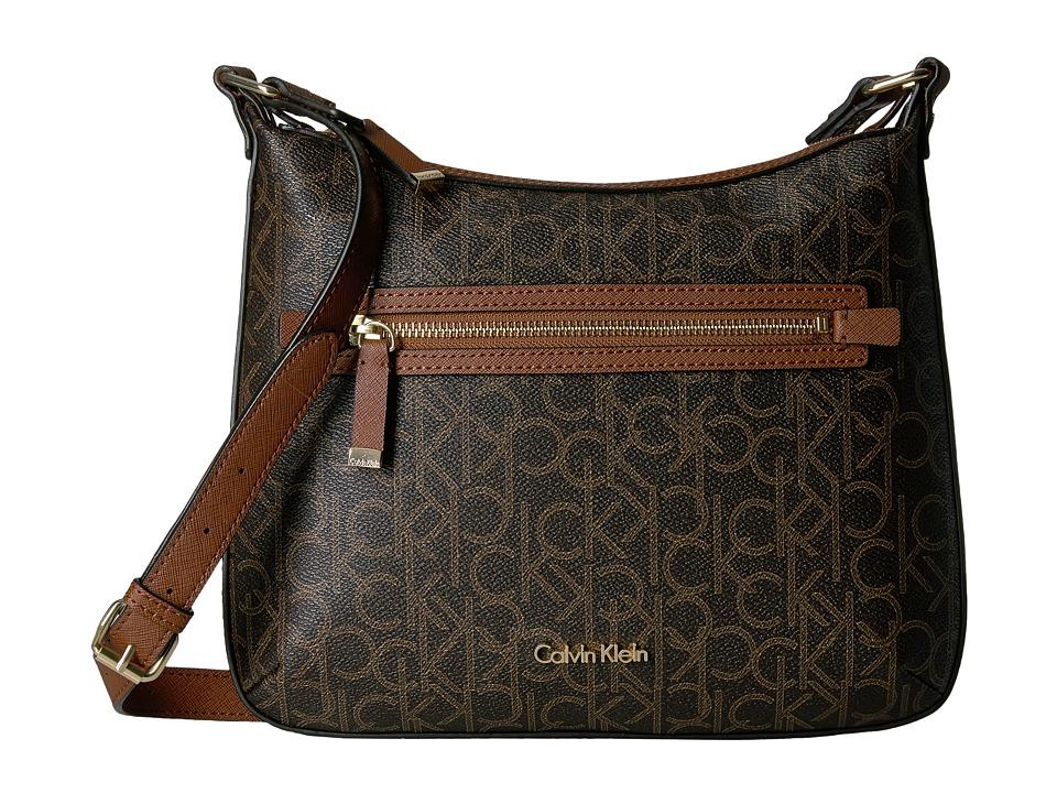 Calvin Klein - Hudson Monogram Crossbody (Brown/Khaki/Luggage Saffiano) Cross Body Handbags