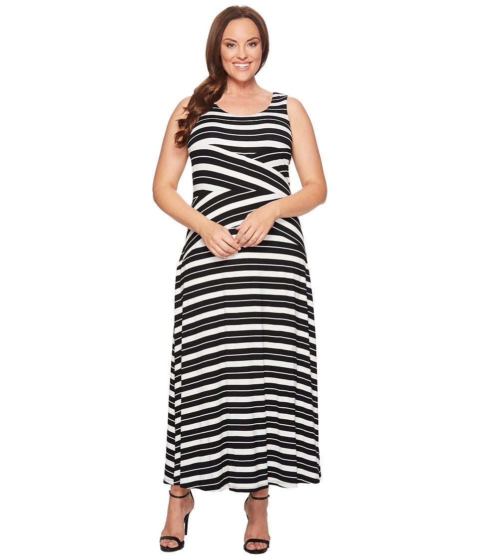 Calvin Klein Plus - Plus Size Striped Crisscross Maxi Dress (Black/White Combo) Women's Dress