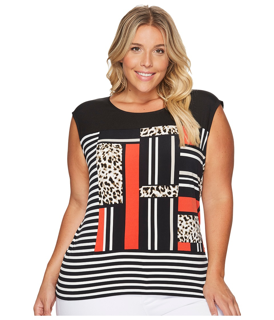 Calvin Klein Plus - Plus Size Mixed Media Print and Striped Top (Black/Leopard) Women's Clothing