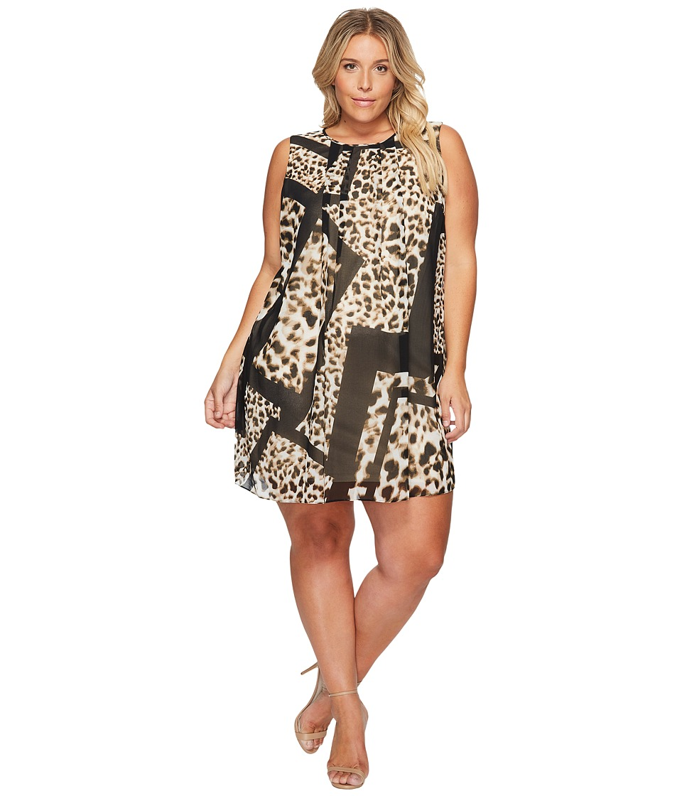 Calvin Klein Plus - Plus Size Printed A-Line Dress (Leopard/Black) Women's Dress