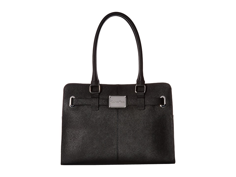 Calvin Klein - Key Items Saffiano Tote (Black/Silver) Tote Handbags
