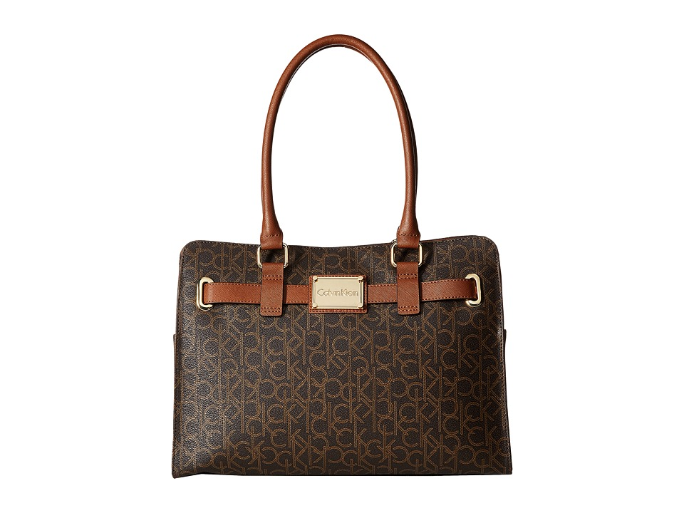 Calvin Klein - Key Items Monogram Tote (Brown/Khaki/Luggage Saffiano) Tote Handbags