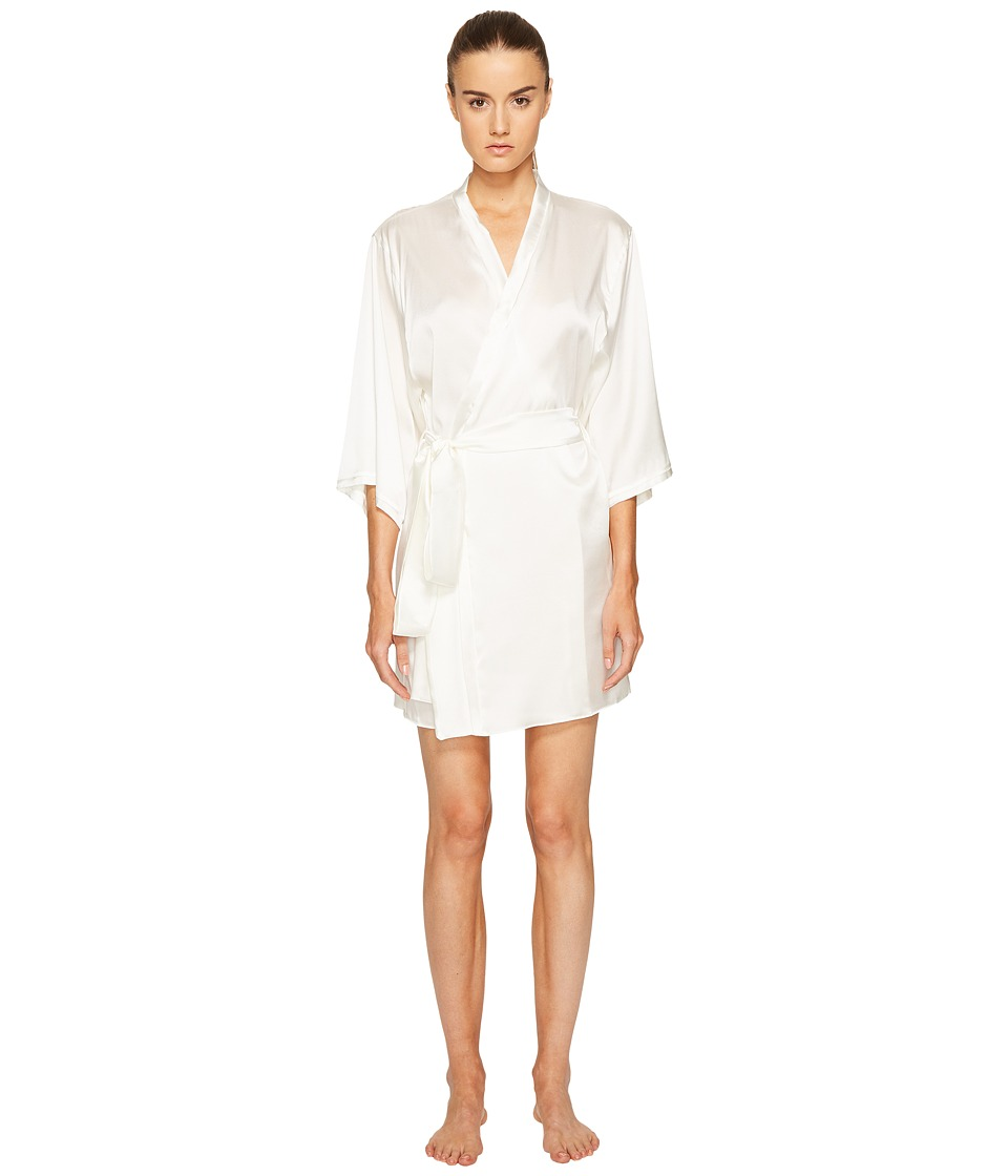 ELSE - Silk Robe with Back Lace Detail (Ivory) Women's Robe