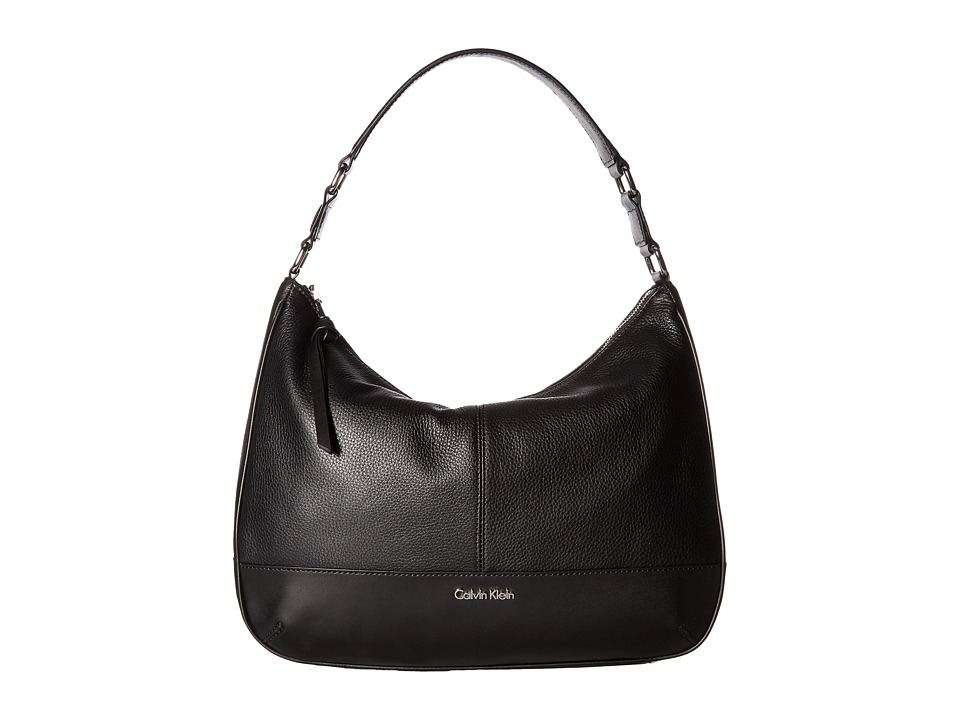 Calvin Klein - Classic Pebble Hobo (Black/Silver) Hobo Handbags
