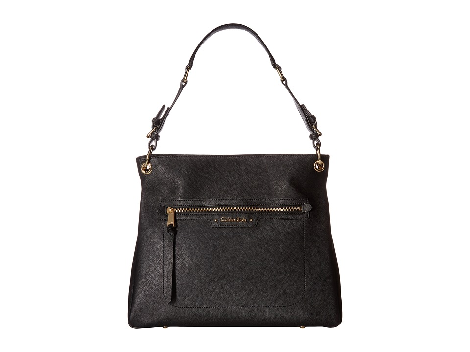 Calvin Klein - Key Items Saffiano Hobo (Black) Hobo Handbags