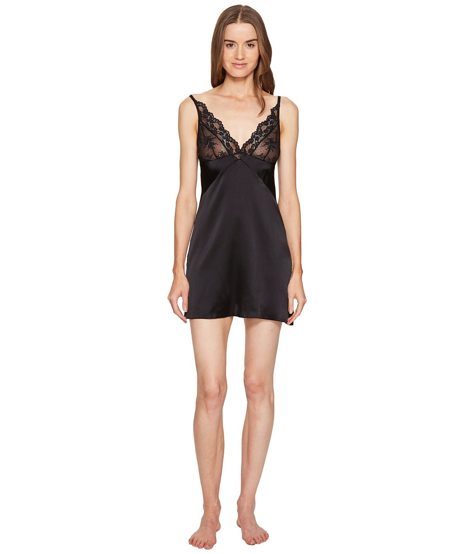ELSE - Lily Soft Cup Silk Chemise/Slip (Black) Women's Pajama