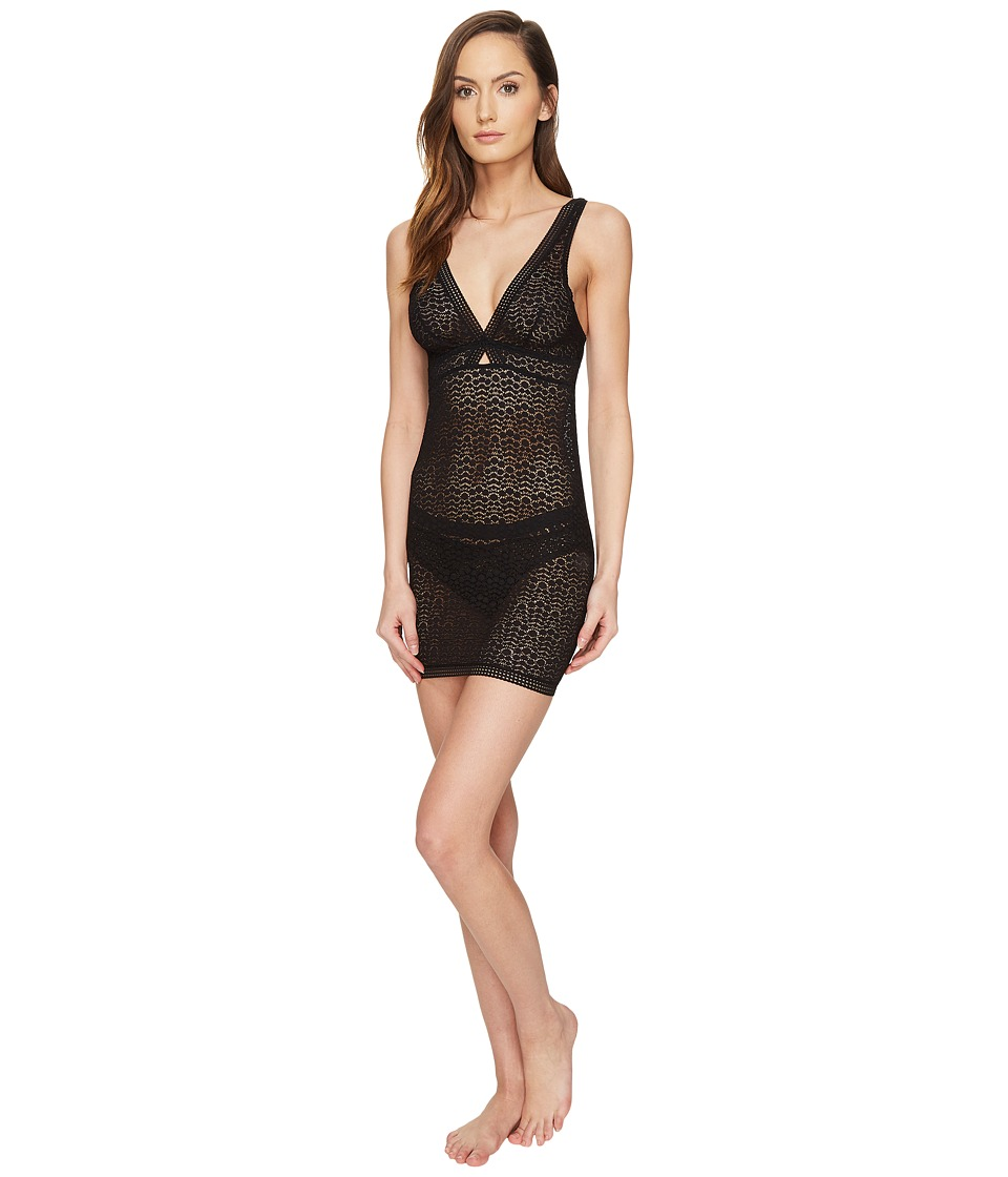 ELSE - Pebble Soft Cup Cross Over Fitted Slip (Black) Women's Pajama