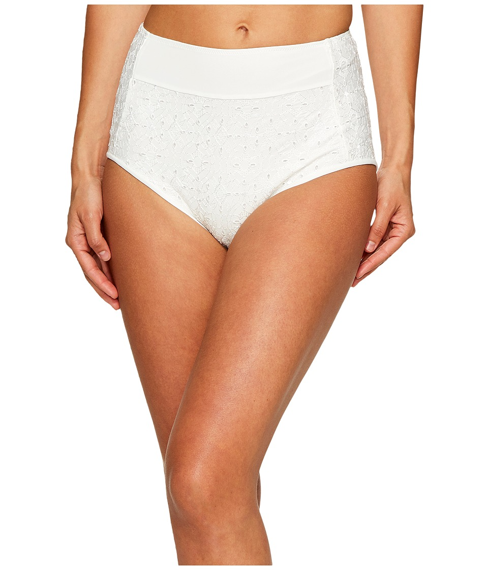 Jonathan Simkhai High Waisted Bikini Bottoms (White Eyelet) Women