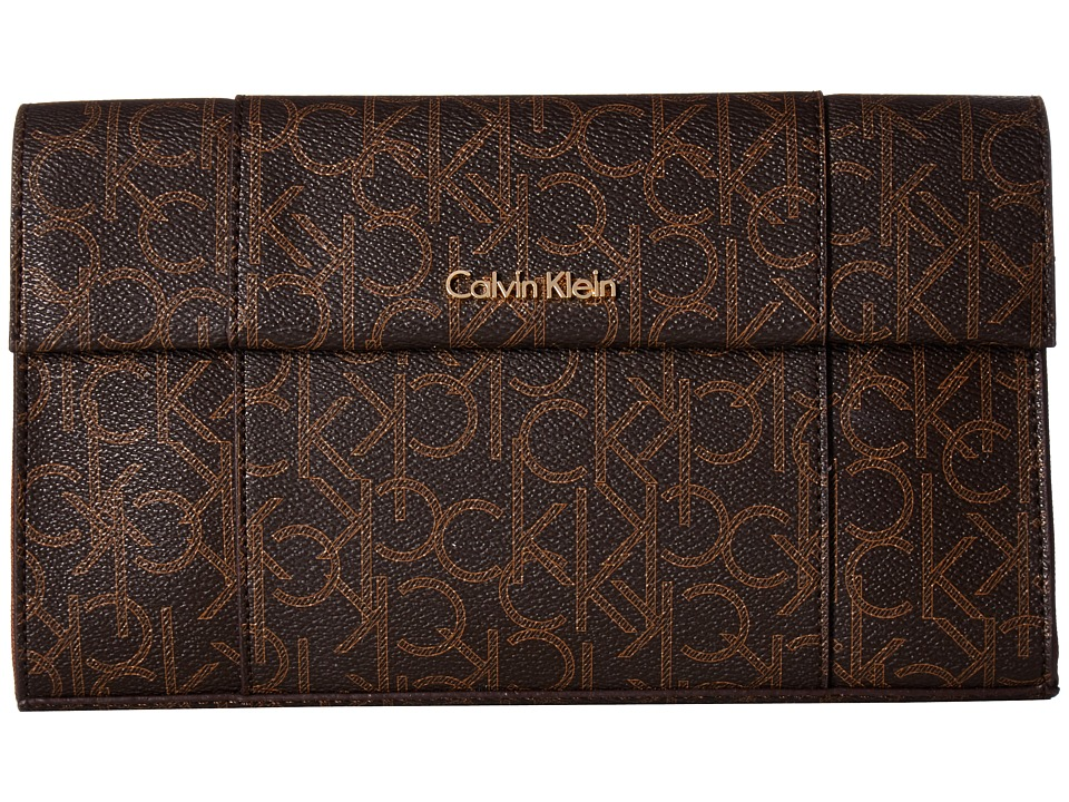 Calvin Klein - Monogram Clutch (Brown/Khaki/Luggage Saffiano) Clutch Handbags
