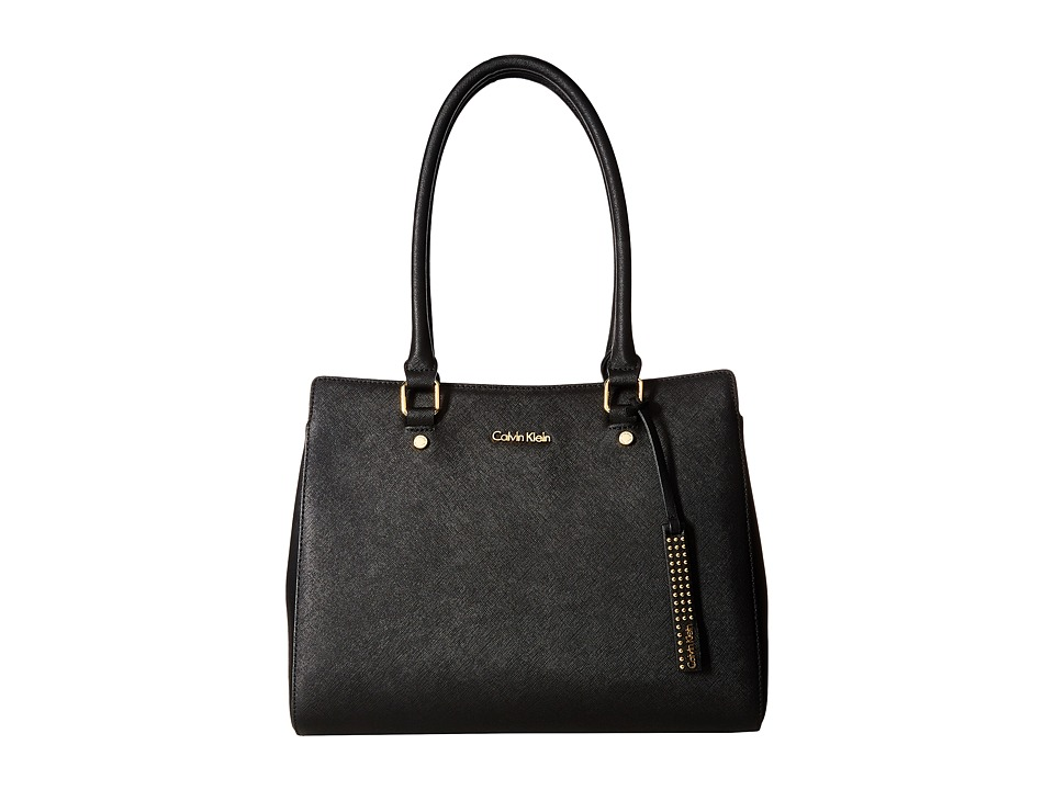 Calvin Klein - Key Items Saffiano Satchel (Black/Gold) Satchel Handbags