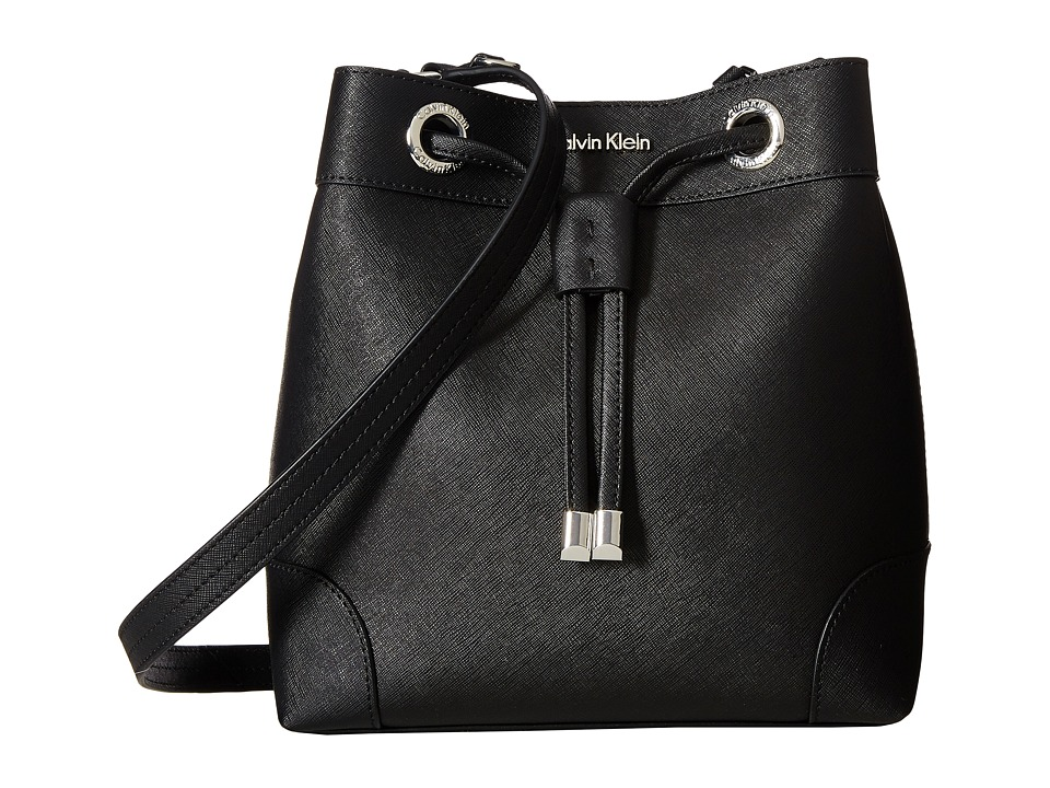 Calvin Klein - Key Items Saffiano Bucket (Black/Silver) Handbags