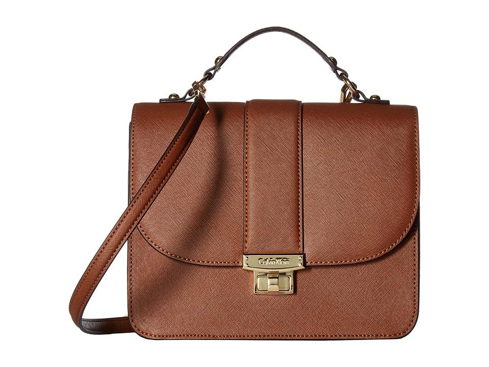 Calvin Klein - Key Items Saffiano Flap Satchel (Luggage) Satchel Handbags