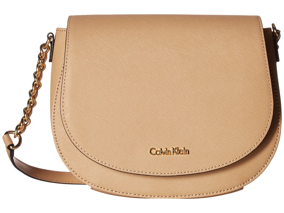 Calvin Klein - Key Items Saffiano Saddle Bag (Nude) Cross Body Handbags