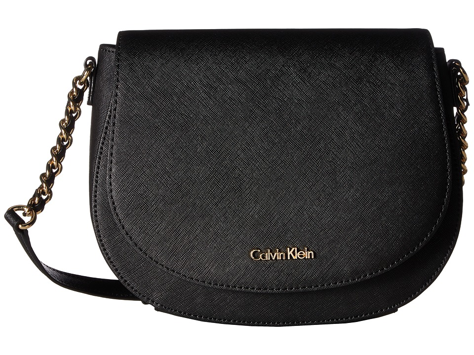 Calvin Klein - Key Items Saffiano Saddle Bag (Black/Gold) Cross Body Handbags