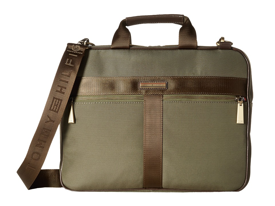 Tommy Hilfiger Darren Slim Briefcase Codura Nylon (Dark Olive) Briefcase Bags