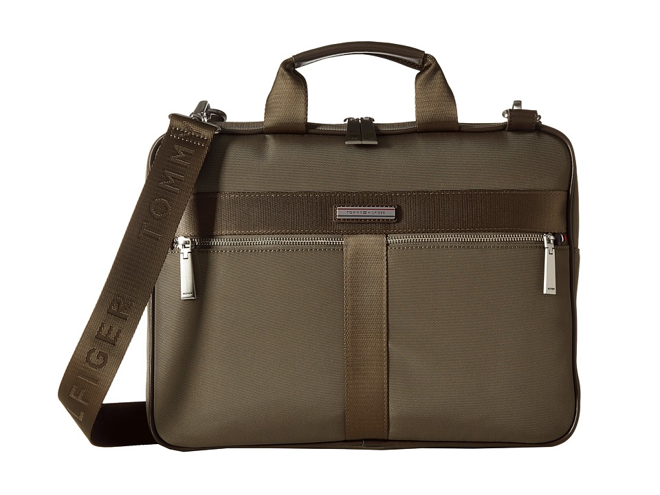 Tommy Hilfiger - Darren Slim Briefcase Codura Nylon (Military Green) Briefcase Bags