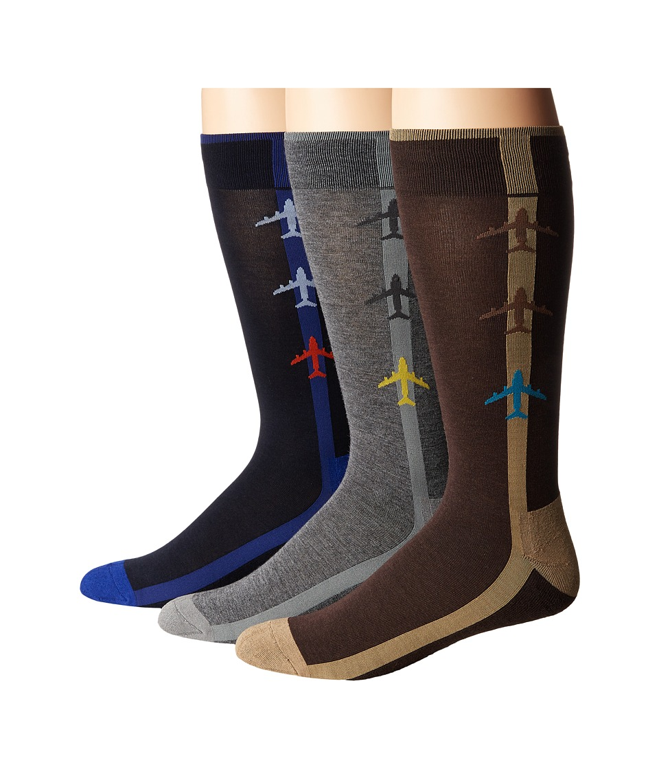 HUE - Jetsetter Sock 3-Pack (Graphite Heather Pack) Men's Crew Cut Socks Shoes