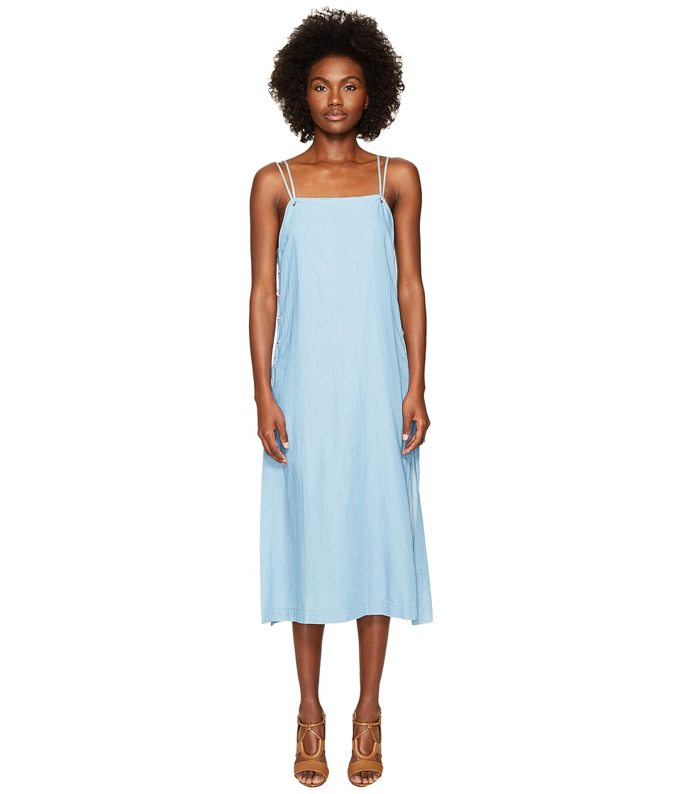 Jonathan Simkhai Chambray Denim Lace-Up Maxi Dress Cover-Up (Blue Combo) Women