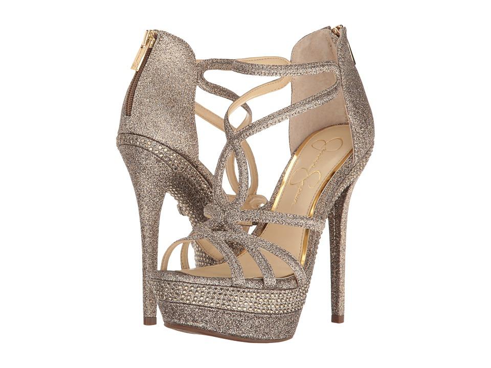 Jessica Simpson Womens Rozmari Open Toe Casual Strappy Soft Gold Size 8.0 8FMt