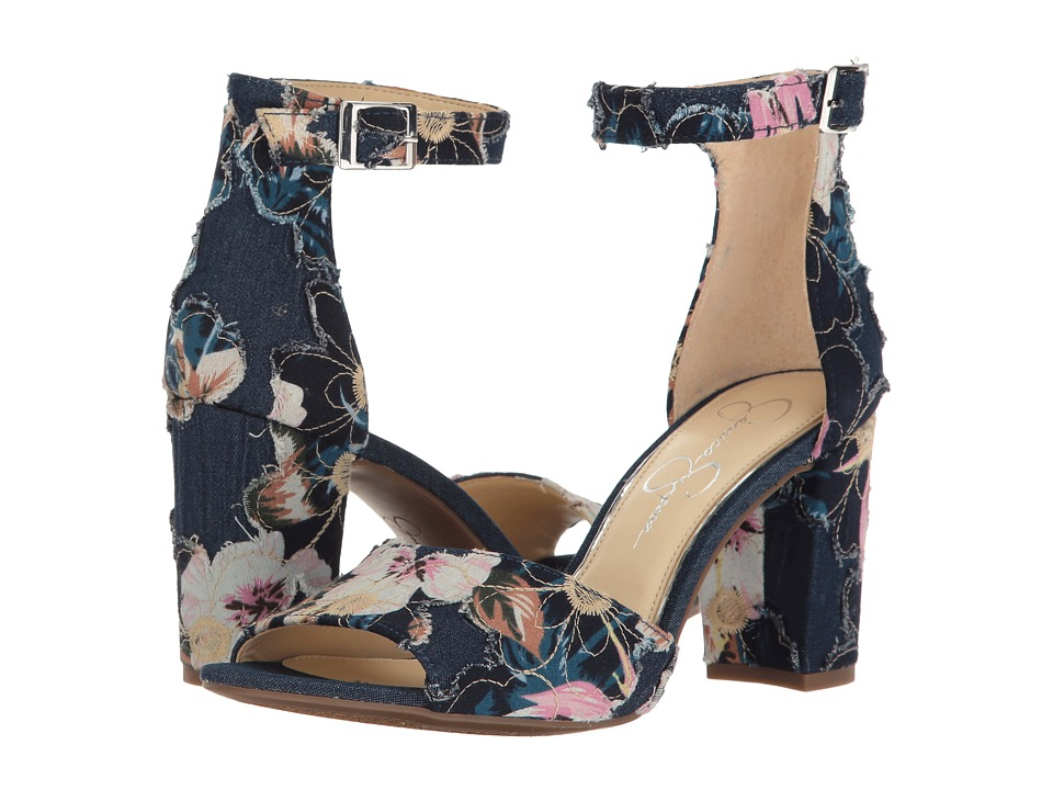 Jessica Simpson - Sherron (Blue Multi Riley Floral Denim) Women's Shoes