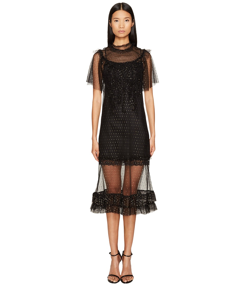 Sonia by Sonia Rykiel - Short Sleeve Plumetis Dress with Frills (Black) Women's Dress