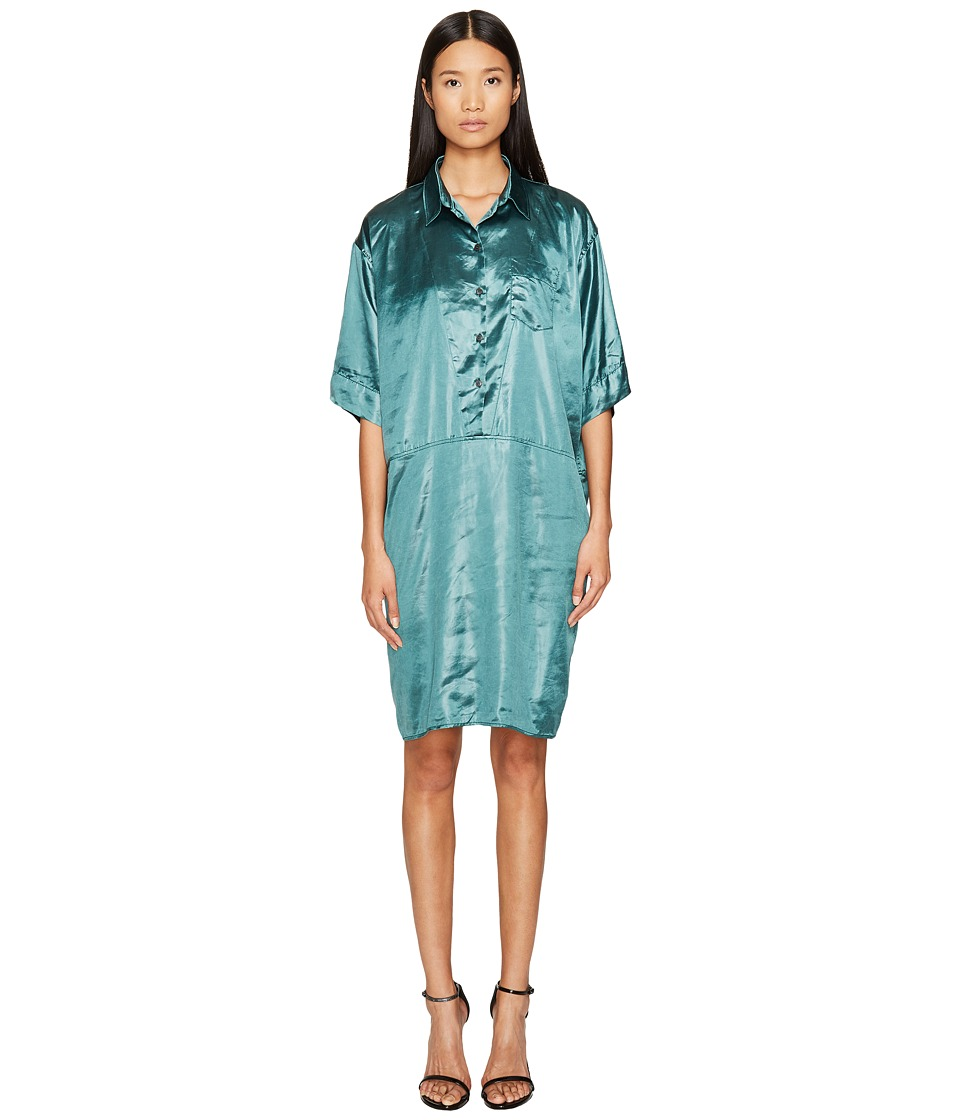 Sonia Rykiel - Creased Satin Dress with Belt (Emereld Green) Women's Dress
