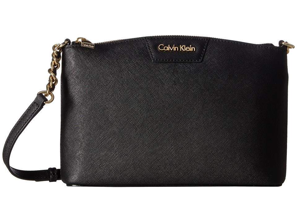 Calvin Klein - Key Items Saffiano Crossbody (Black) Cross Body Handbags