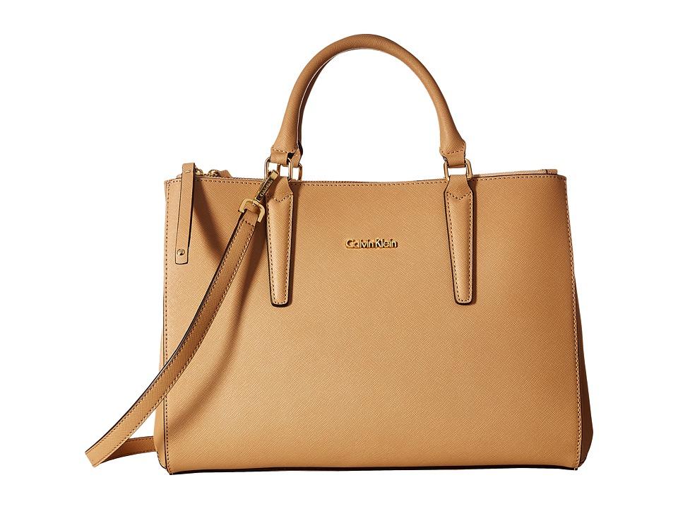 Calvin Klein - Saffiano Satchel (Nude) Satchel Handbags