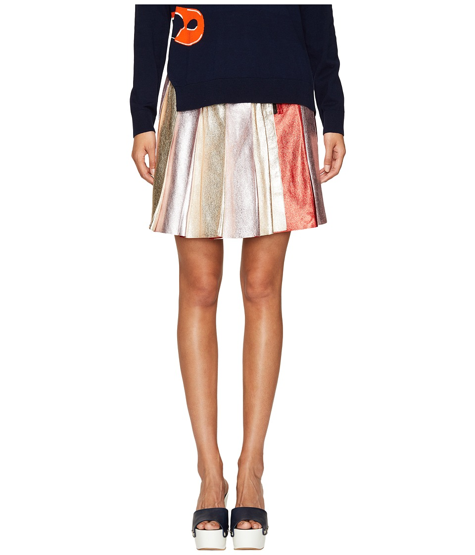 Sonia Rykiel - Lamb Leather Skirt (Silver Multicolor) Women's Skirt