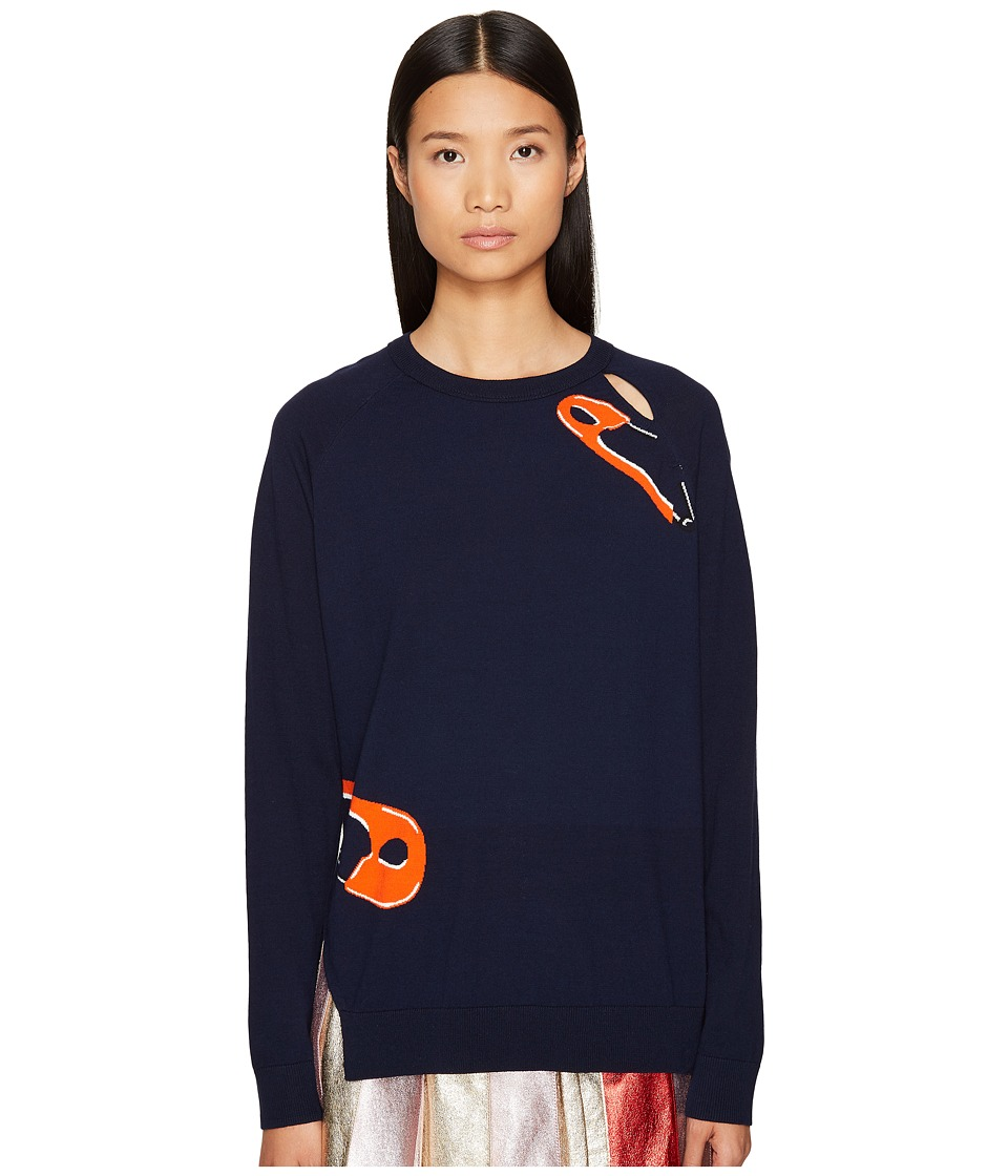 Sonia by Sonia Rykiel - Intarsia Safety Pin Knit Sweater (Blue Pin Print) Women's Sweater