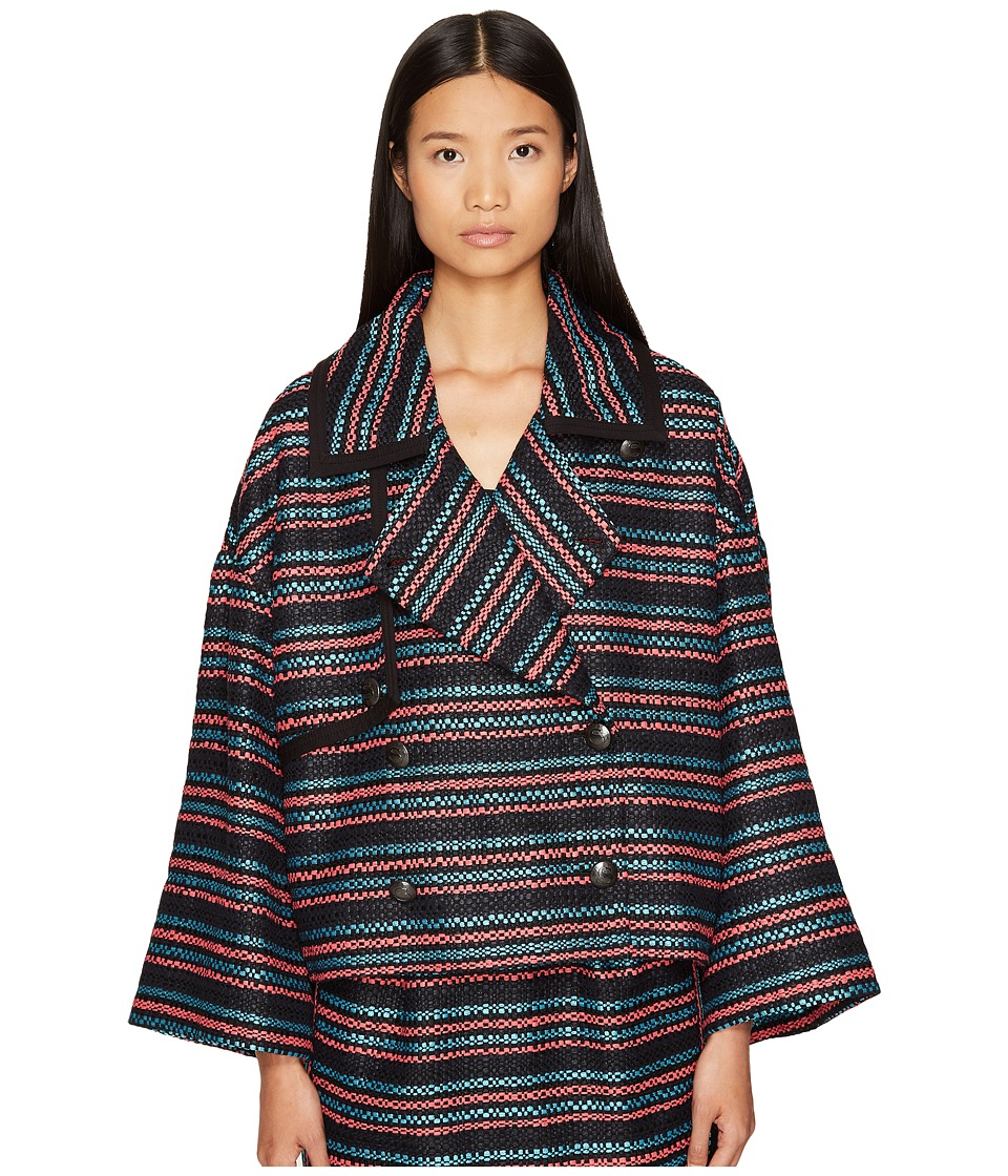 Sonia Rykiel - Tweed with Jersey Piping Jacket (Multicolor Stripe) Women's Coat