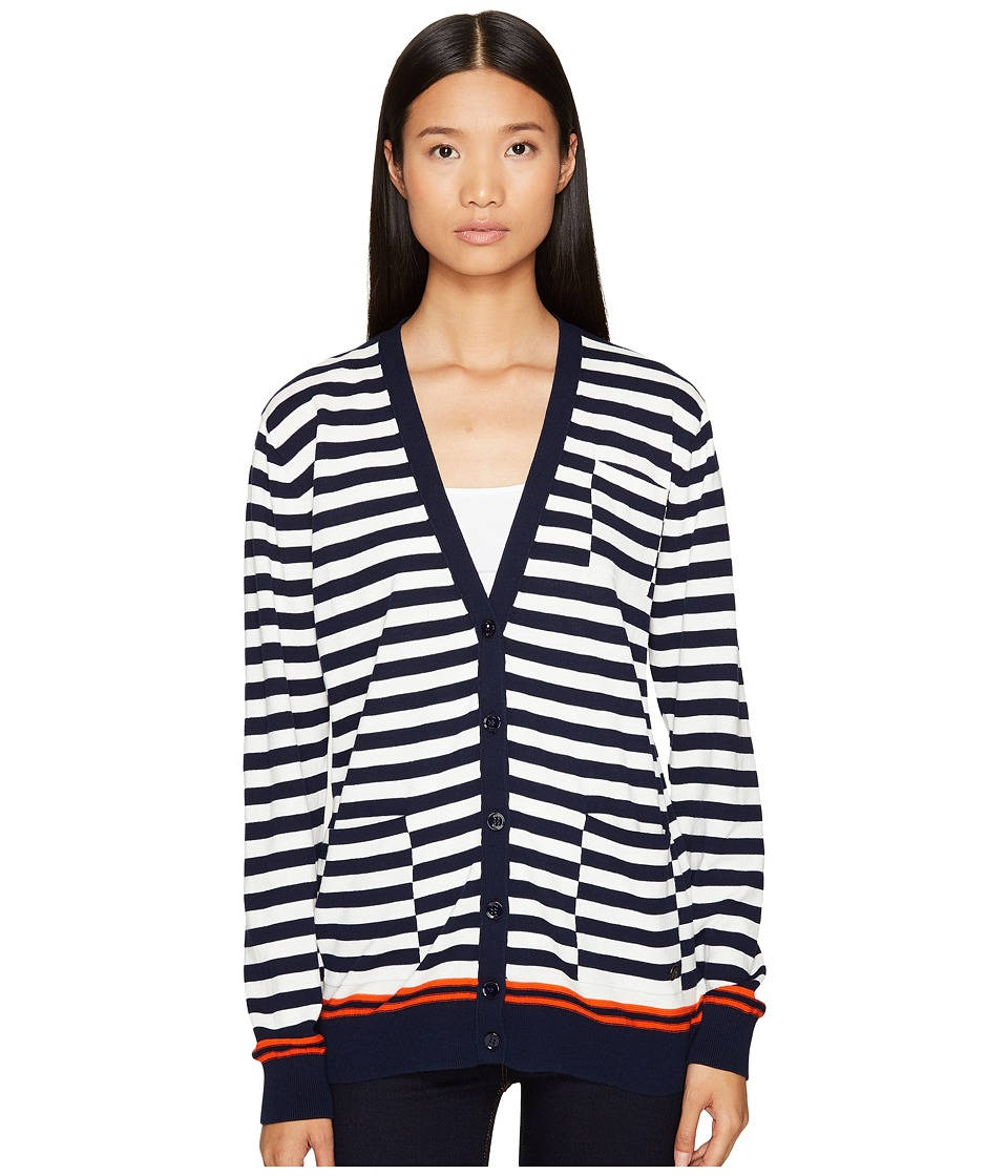 Sonia Rykiel - Graphic Stripes Cotton Cardigan (Blue/Red/White Multi) Women's Sweater