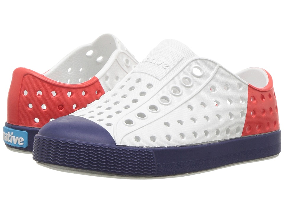 Native Kids Shoes - Jefferson Block (Toddler/Little Kid) (Pigeon Grey/Shell White/Giant Block) Kids Shoes