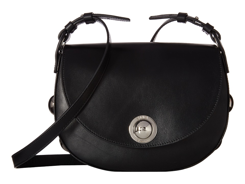Sonia by Sonia Rykiel - Calfskin Saddle Bag (Black) Bags