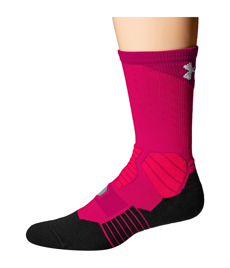 Under Armour - UA Drive Basketball Crew (Tropic Pink/Black) Men's Crew Cut Socks Shoes