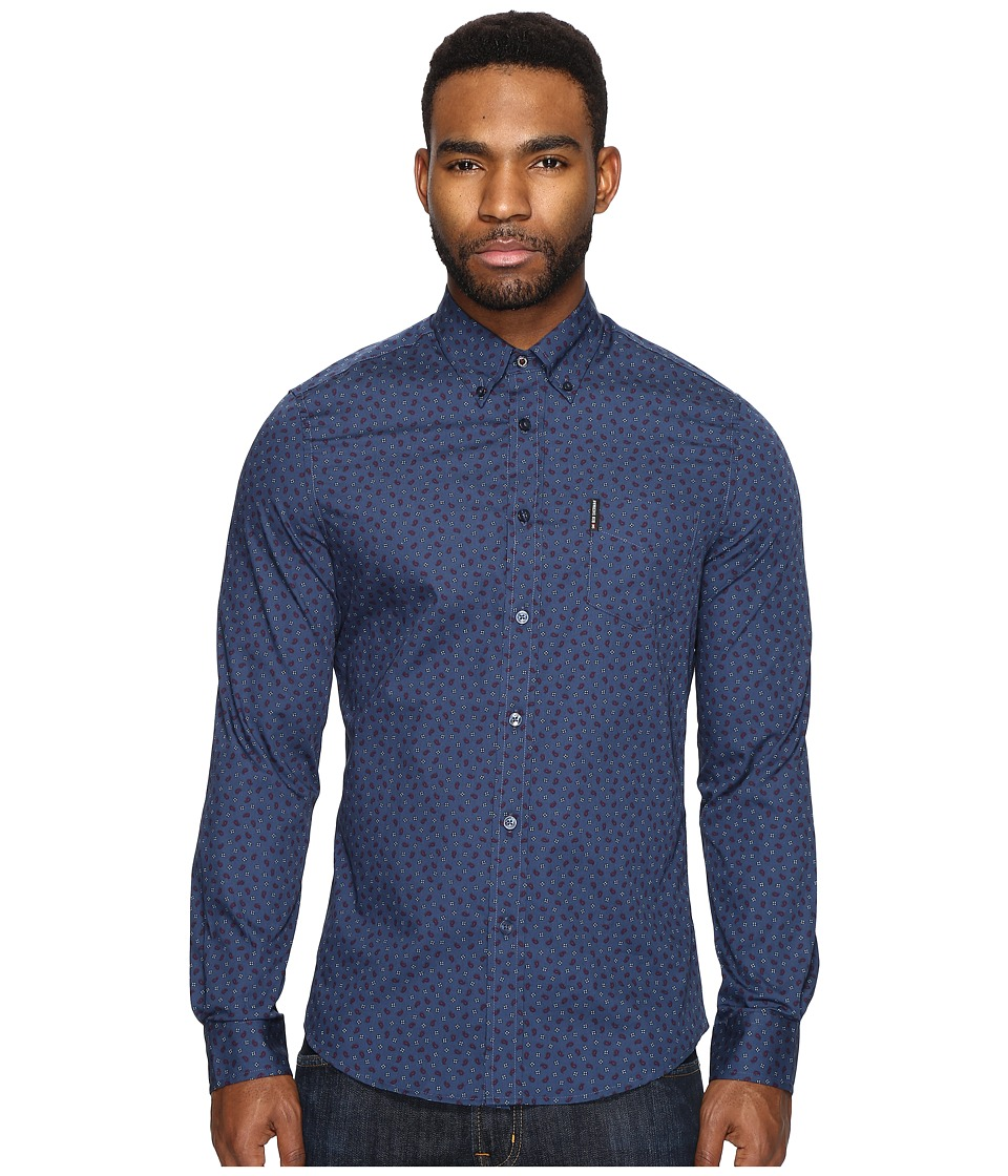 Ben Sherman - Long Sleeve Soho Print Party Woven (Staples Navy) Men's Long Sleeve Button Up