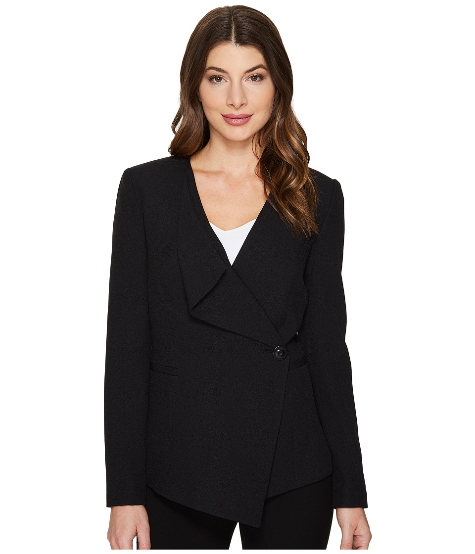 Tahari by ASL - Crepe Drape Front Jacket (Black) Women's Coat