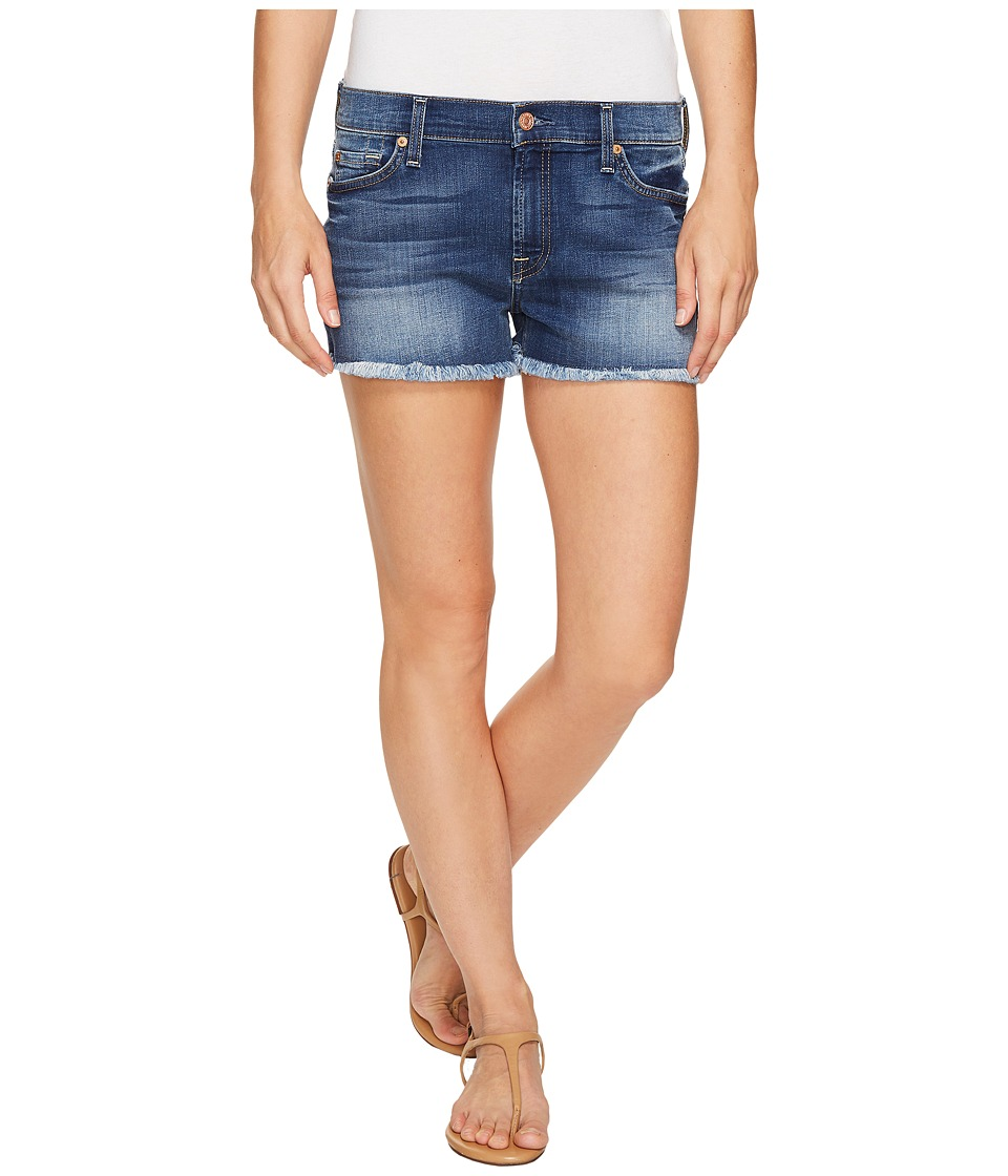 7 For All Mankind - Cut Off Shorts in Rich Coastal Blue (Rich Coastal Blue) Women's Shorts