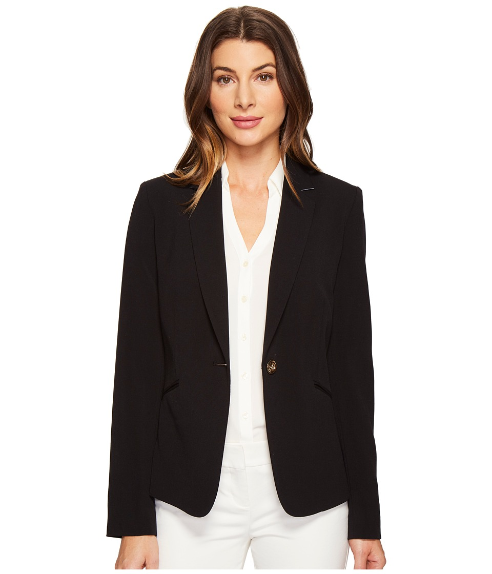 Tahari by ASL - Bi Stretch One-Button Jacket w/ Contrast Collar (Black/White) Women's Coat
