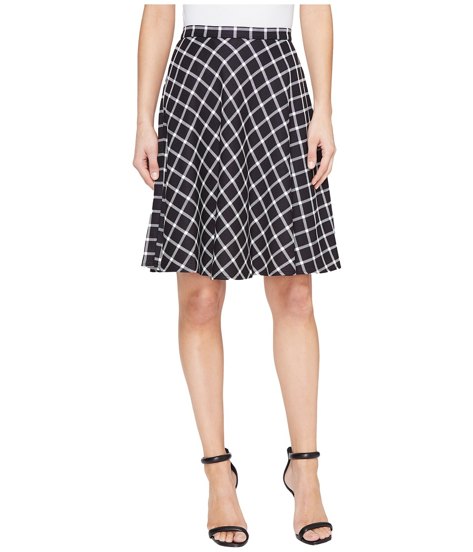 Tahari by ASL Plaid A-Line Skirt (Black/Ivory) Women