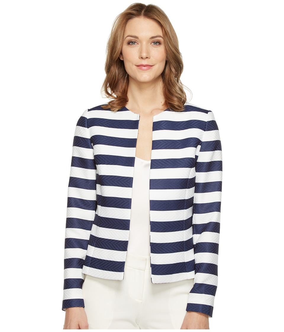 Tahari by ASL - Novelty Striped Jacket (Navy/White) Women's Coat