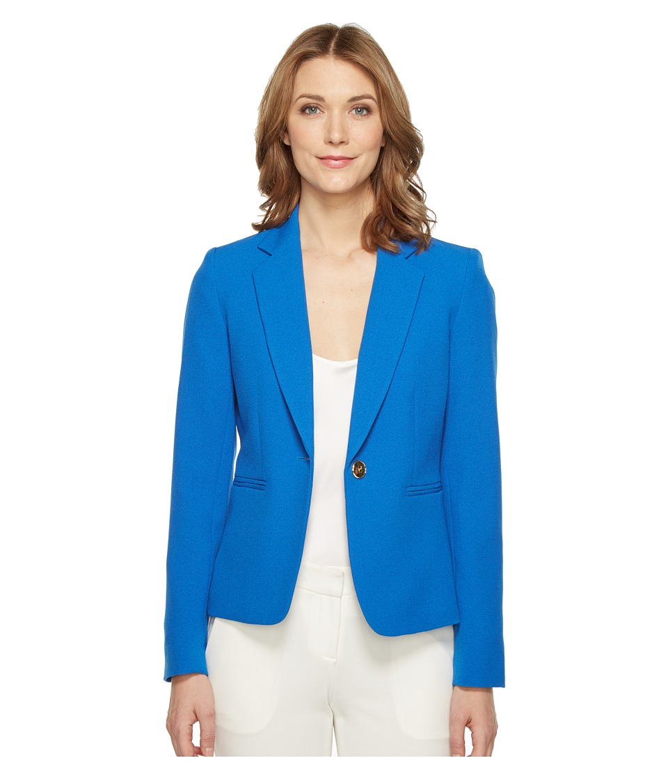 Tahari by ASL - Crepe One Button Jacket (Lagoon Blue) Women's Coat