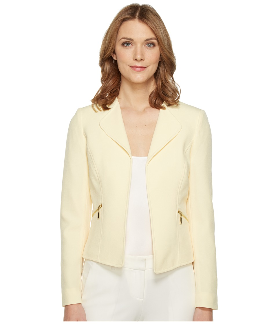 Tahari by ASL - Crepe Open Jacket w/ Zipper Pockets (Pastel Yellow) Women's Coat