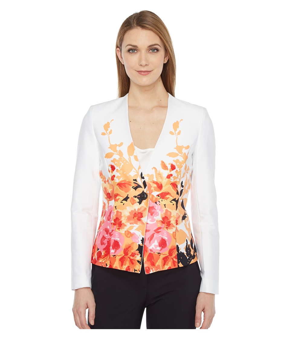 Tahari by ASL - Printed Poplin One-Button Jacket (White/Orange) Women's Coat