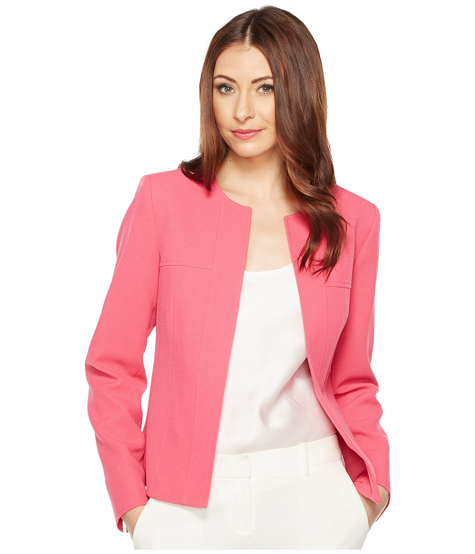 Tahari by ASL - Crepe Jacket w/ Hook Eye at Center Neck (Flamingo) Women's Coat