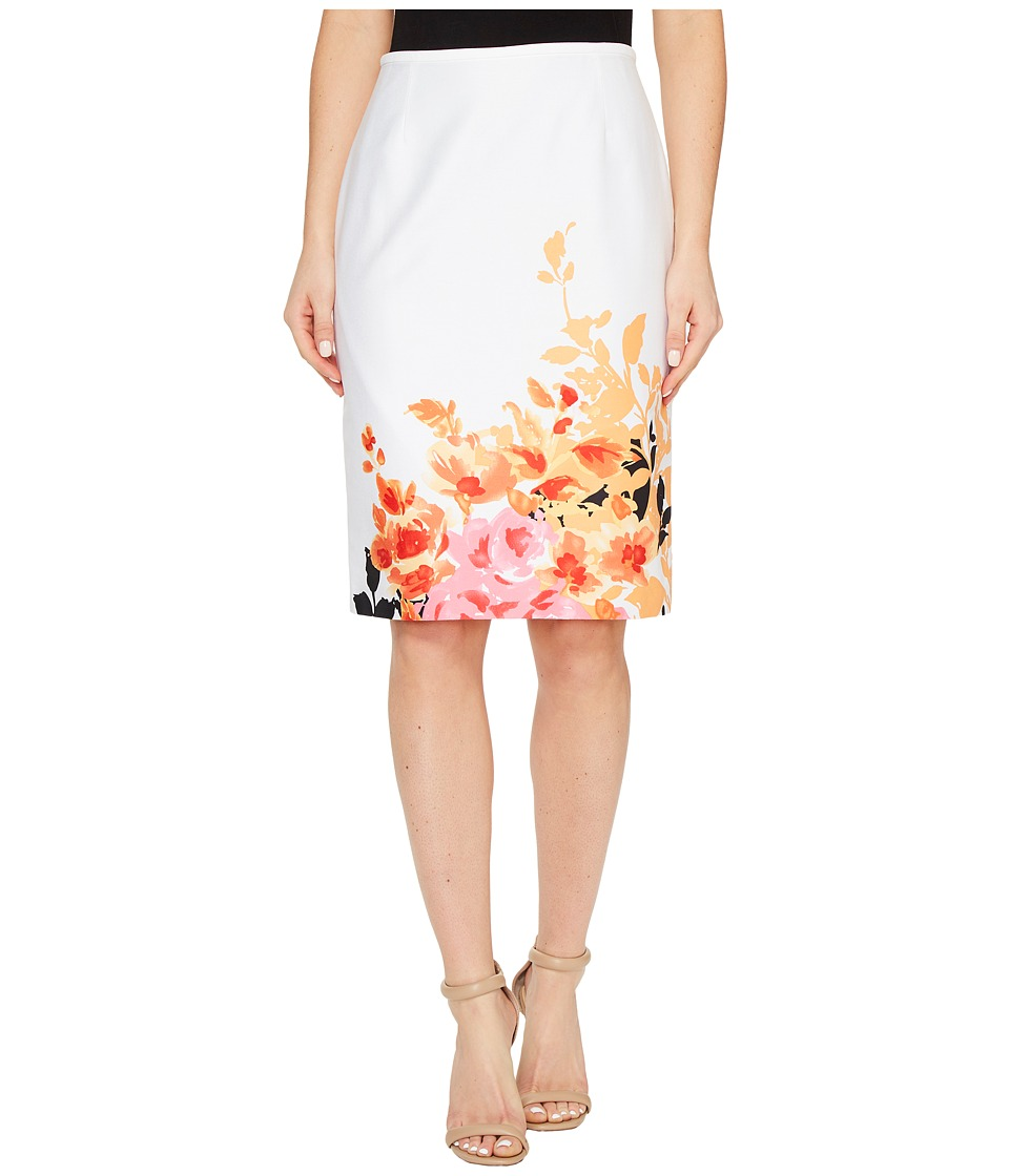 Tahari by ASL - Printed Poplin Pencil Skirt (White/Orange) Women's Skirt