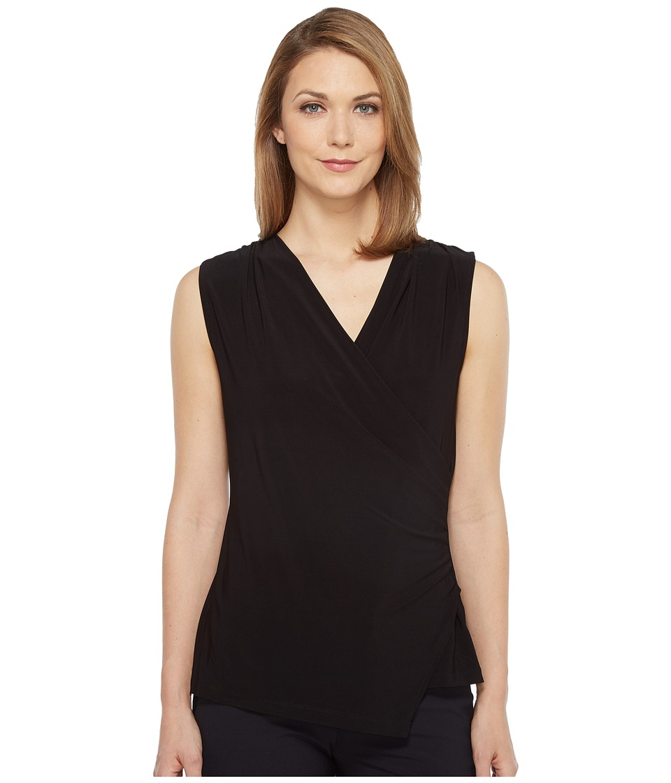 Tahari by ASL - Wrap Front Jersey Blouse (Black) Women's Blouse