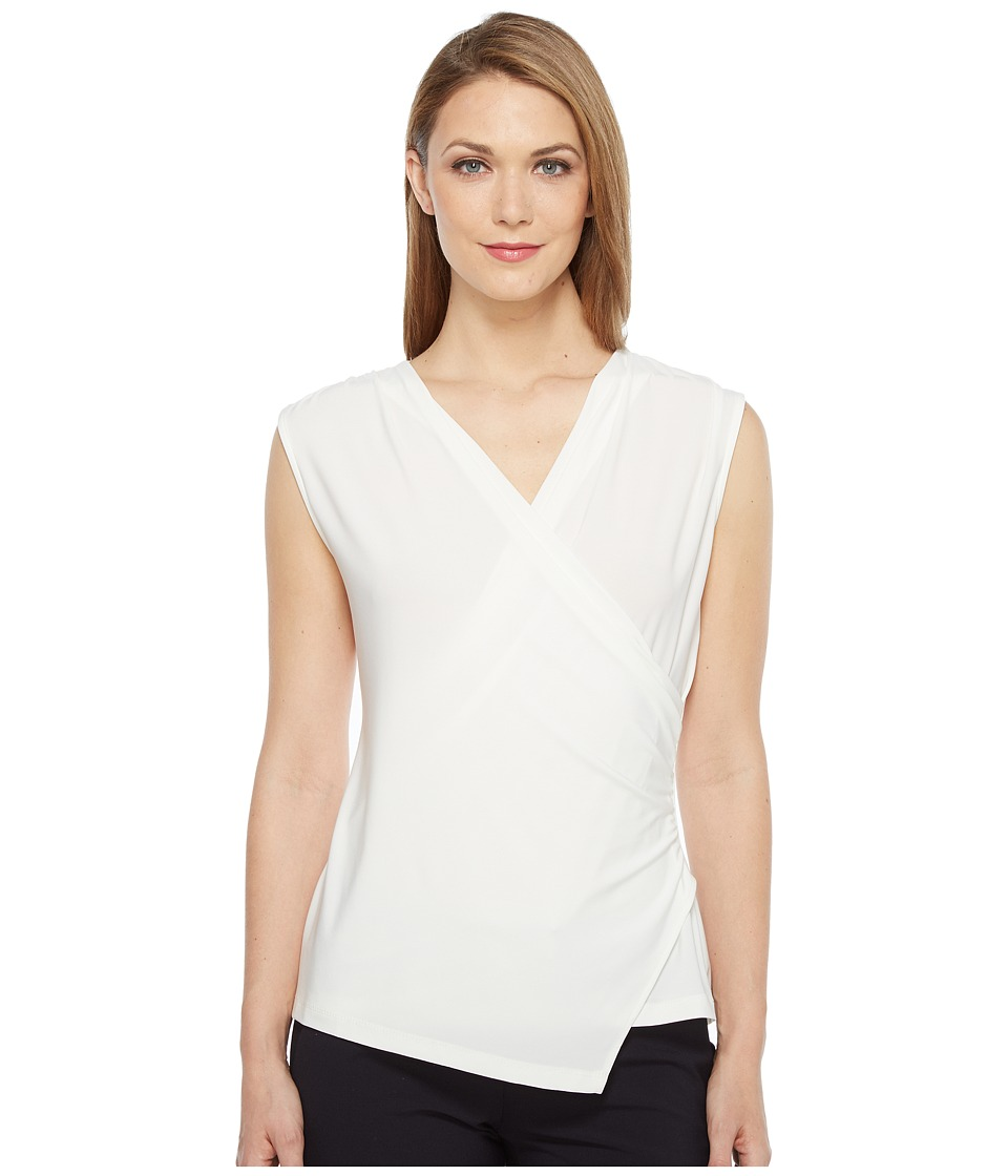 Tahari by ASL - Wrap Front Jersey Blouse (Ivory) Women's Blouse