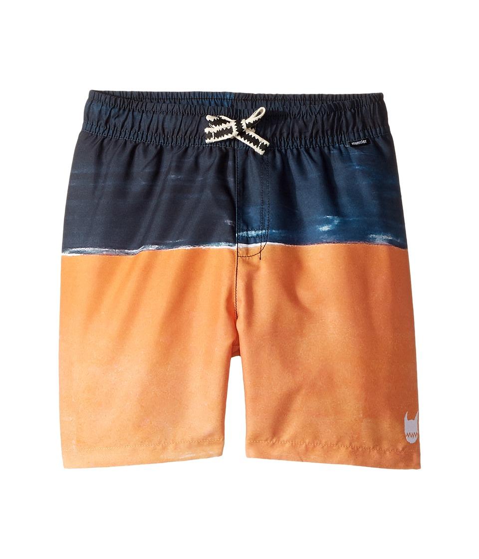 Munster Kids - Volcano Boardshorts (Toddler/Little Kids/Big Kids) (Navy/Orange) Boy's Swimwear