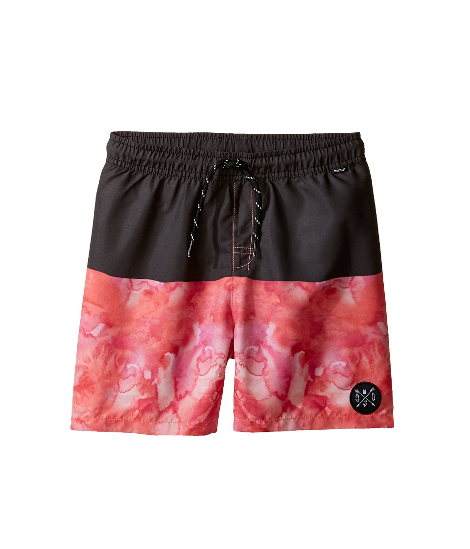 Munster Kids - Spillage Boardshorts (Toddler/Little Kids/Big Kids) (Black/Red) Boy's Swimwear